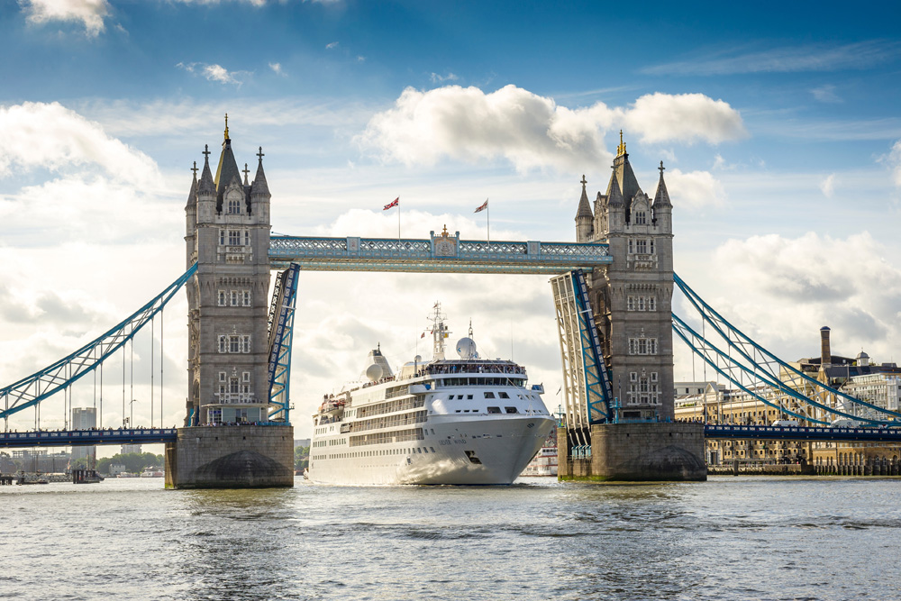 Silver Wind at Tower Bridge, London.