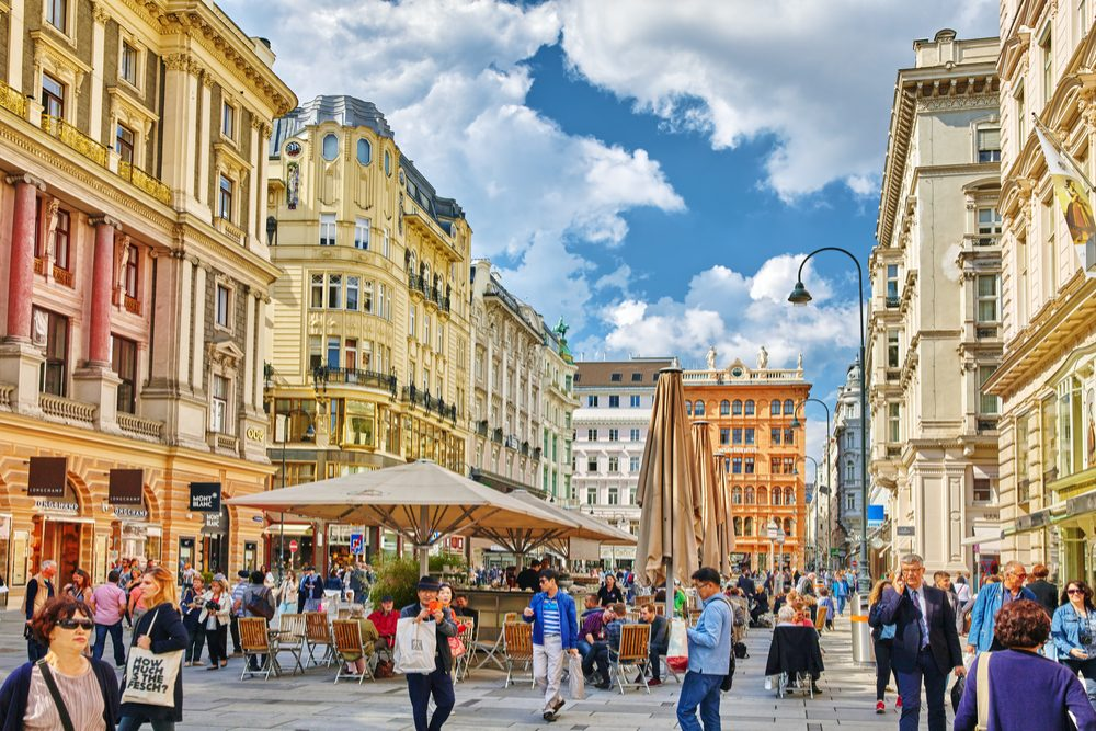 Cityscape views of one of Europe's most beautiful town- Vienna. Peoples on streets, urban life in Vienna Austria
