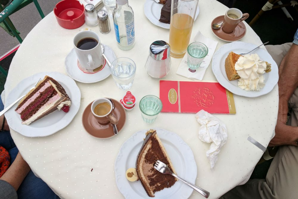 bakery items on a round table in Bavaria