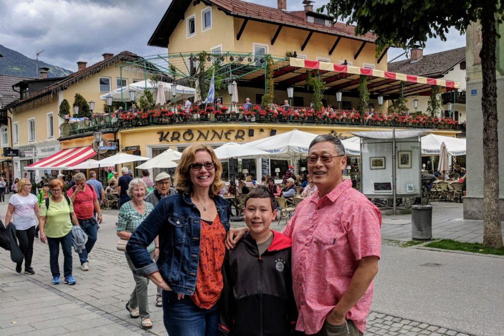 family in Bavaria town