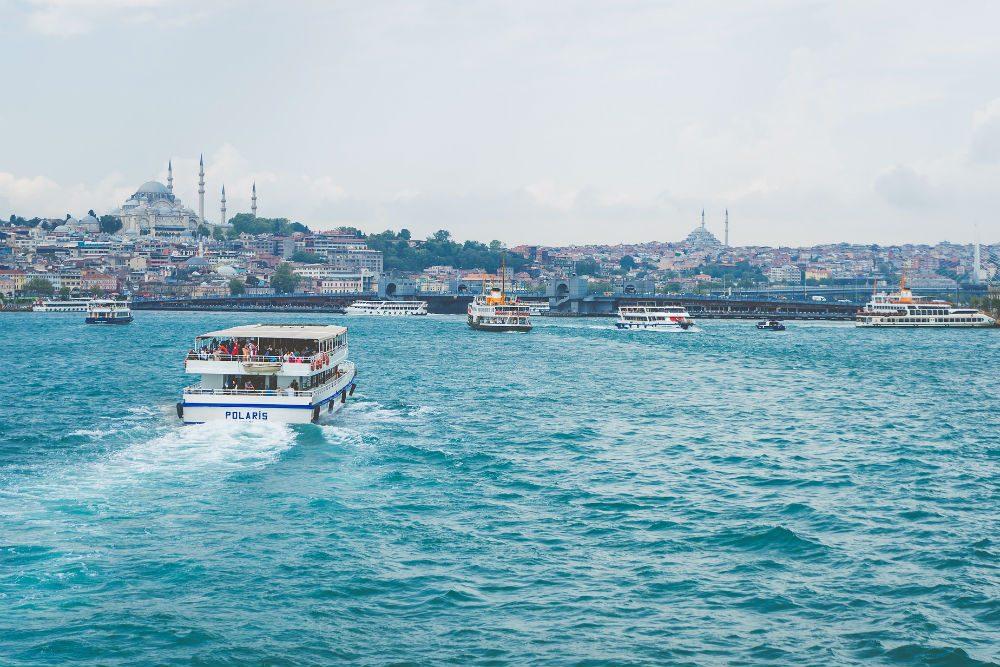 Ferries crossing the Bosphorus River, Istanbul, Turkey.