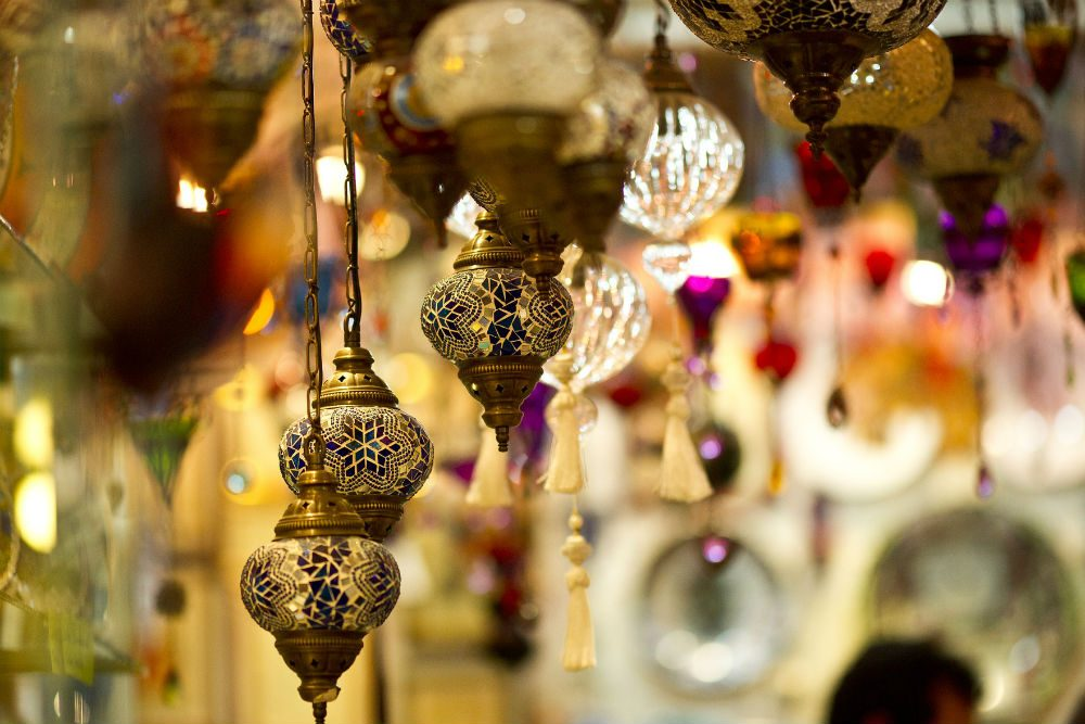 lamps hanging at the Grand Bazaar in Istanbul Turkey