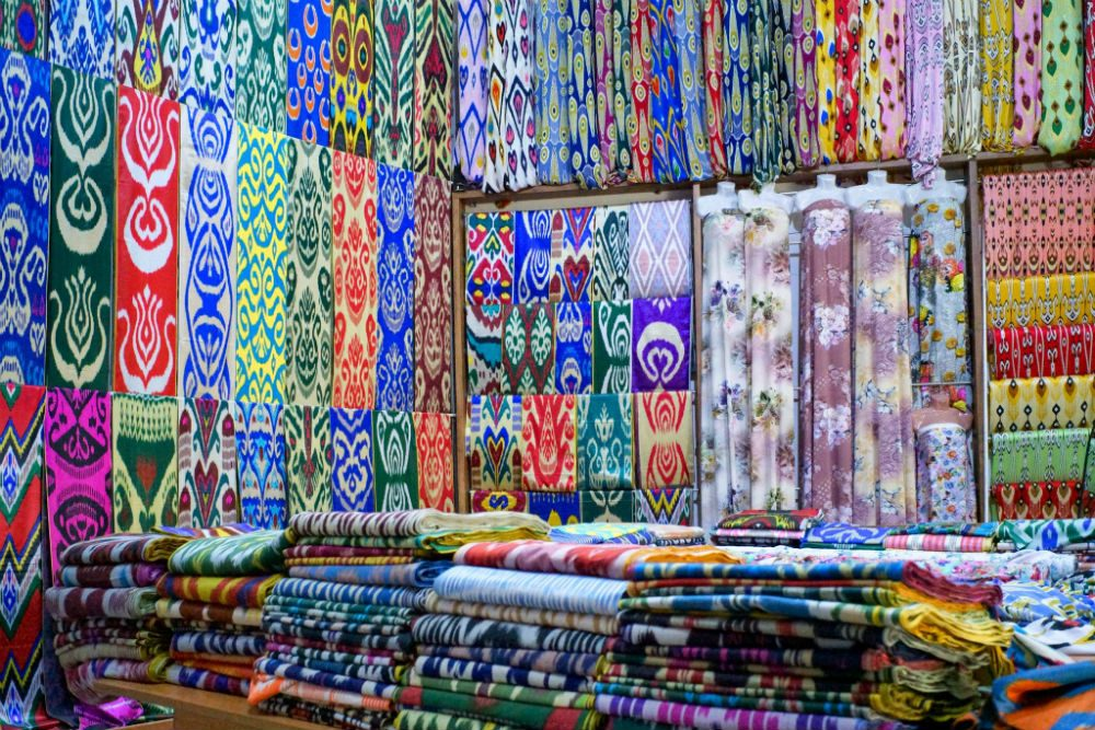 A silk factory shop in Uzbekistan