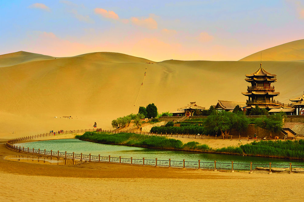 Crescent Moon Lake in the desert near Dunzhuang, China