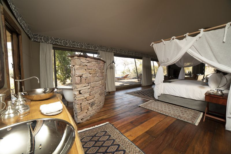 bedroom view of safari tent suite at Mpala Jena luxury camp in Zimbabwe