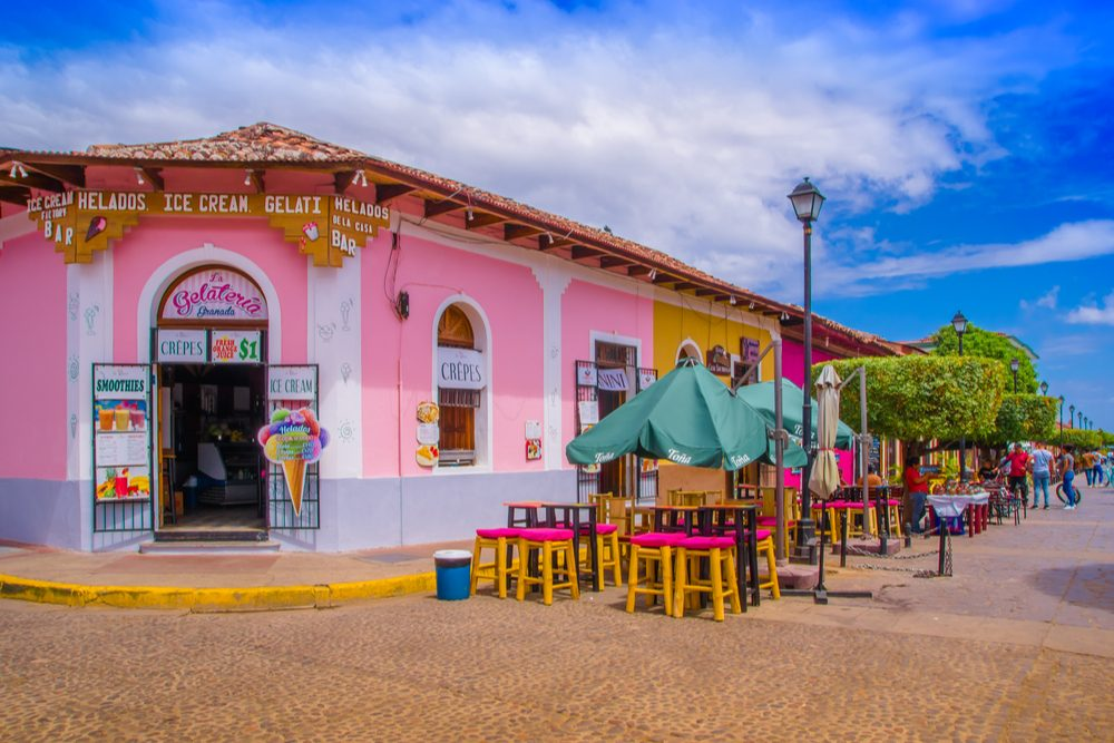 View of colorful market stalls at a colorful street in Granada, Nicaragua
