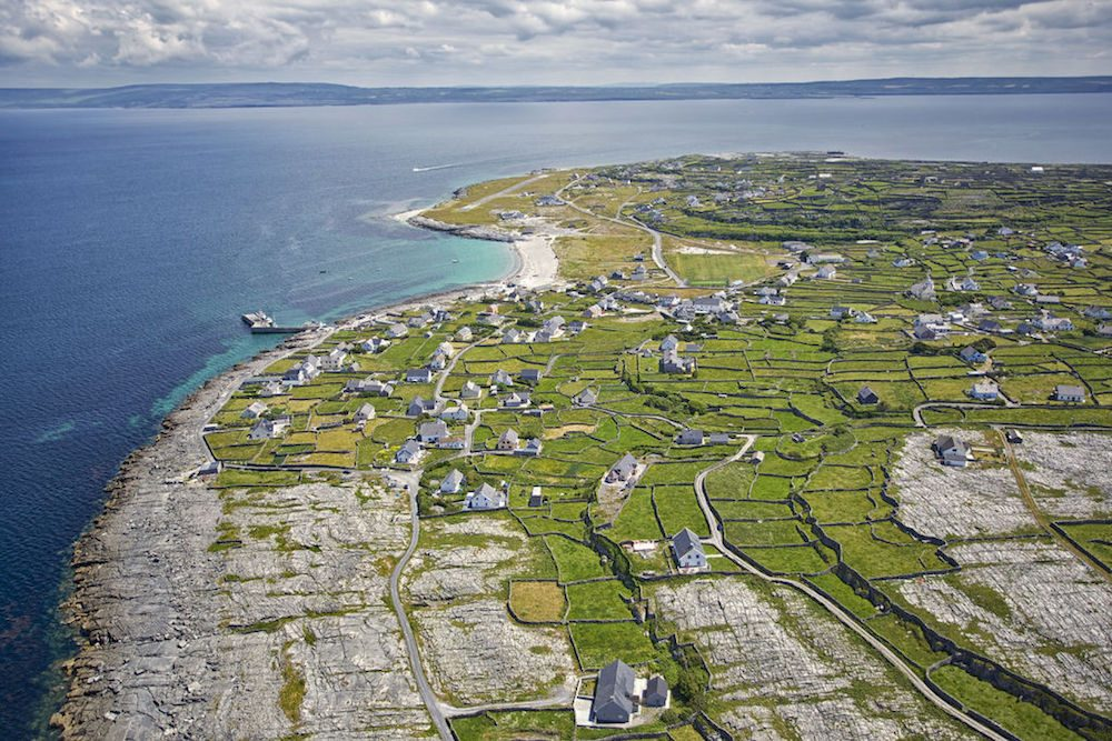 Aerial view of Inis Oirr, the smallest of the Aran Islands, along the Wild Atlantic Way, County Galway, Ireland