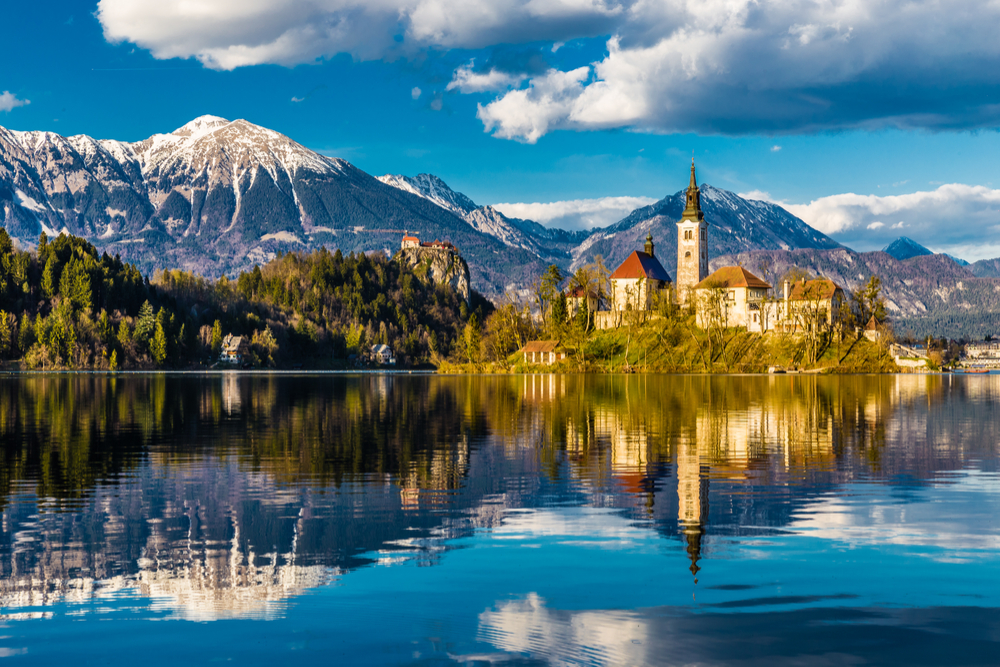 Amazing View of Bled Lake with Island,Church And Castle With Mountain Range In The Background-Bled,Slovenia,Europe
