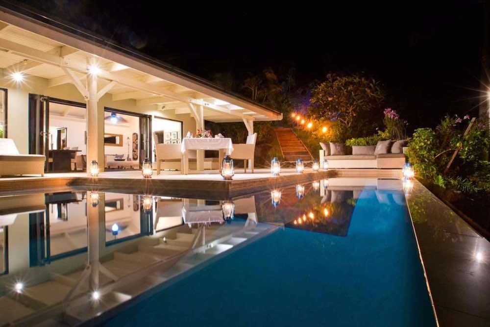 horizon spa villa at night with plunge pool and deck, Tavenui Palms resort Fiji