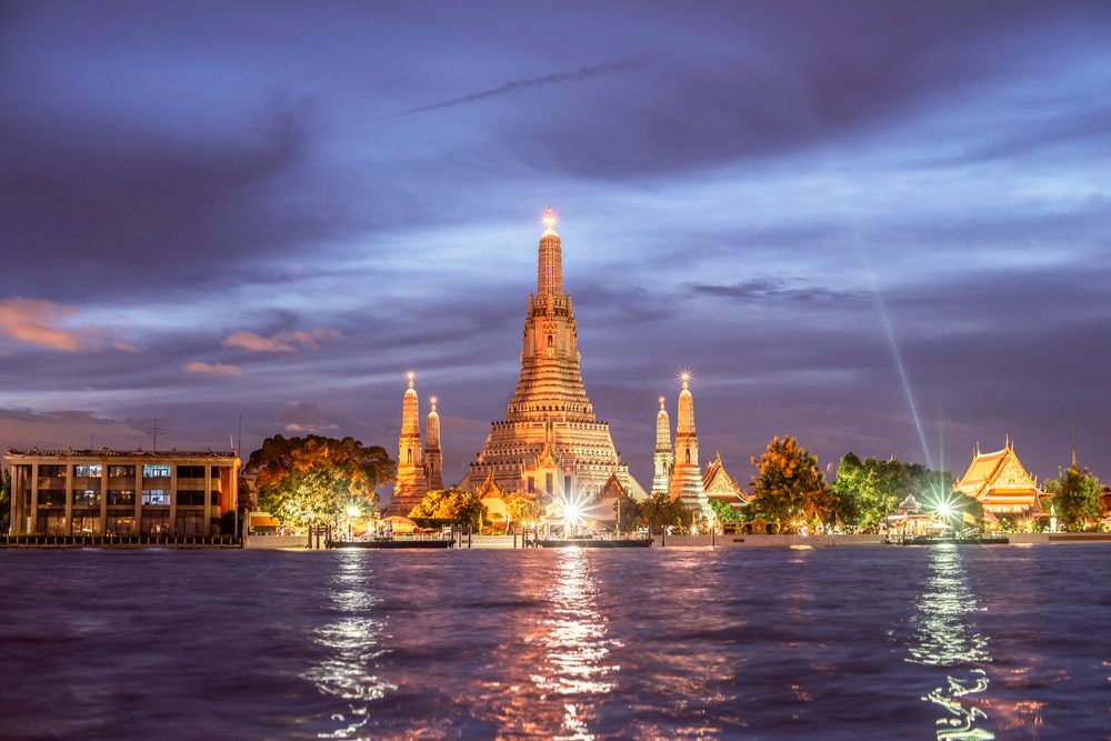 Wat Arun Ratchawaram The Royal Thai Consulate Rattanakosin Town Hall skyline of Bangkok at night