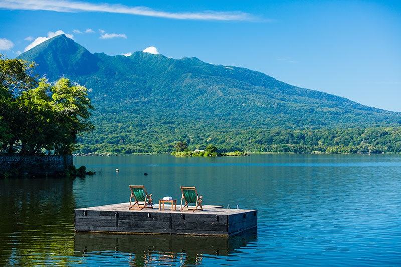 floating dock in Lake Nicaragua of Jicaro Island eco lodge