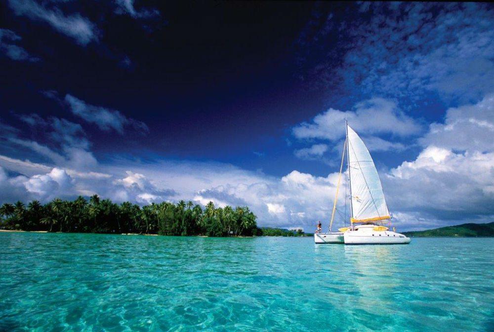 Catamaran off Motu Island Tahiti
