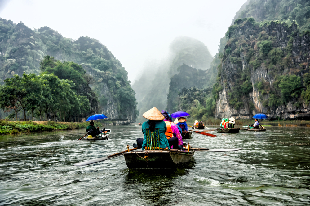 small rowboats in Halong Bay Vietnam