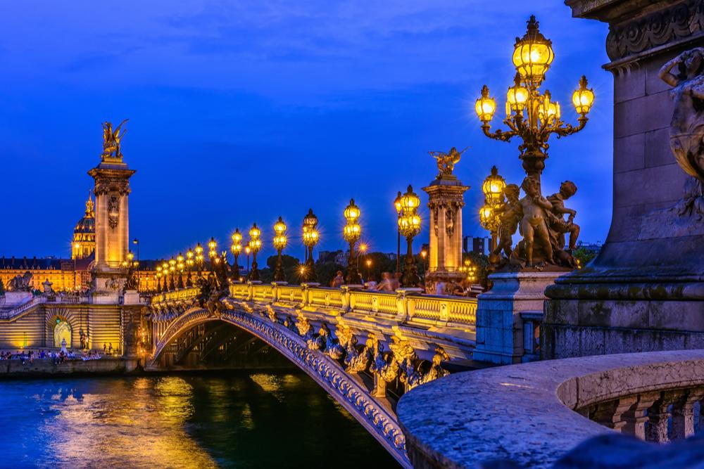 Pont Alexandre III (Alexander the third bridge) over river Seine in Paris, France. Architecture and landmarks of Paris.