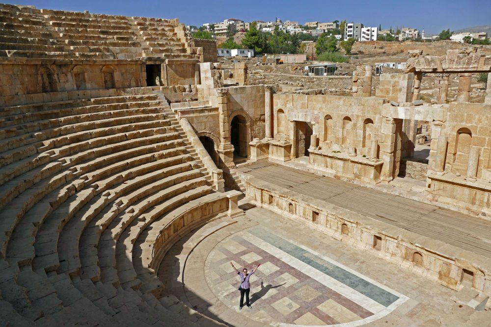 tourist in the North Theater of Jerash Jordan