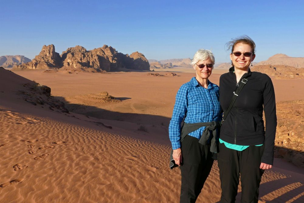 tourists in Wadi Rum desert Jordan