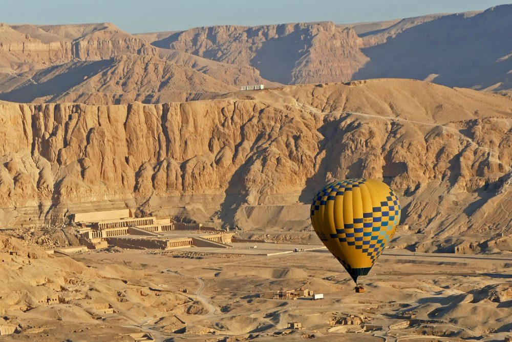 Queen Hatshepsut's mortuary temple in Luxor as seen from our hot air balloon just after dawn Egypt