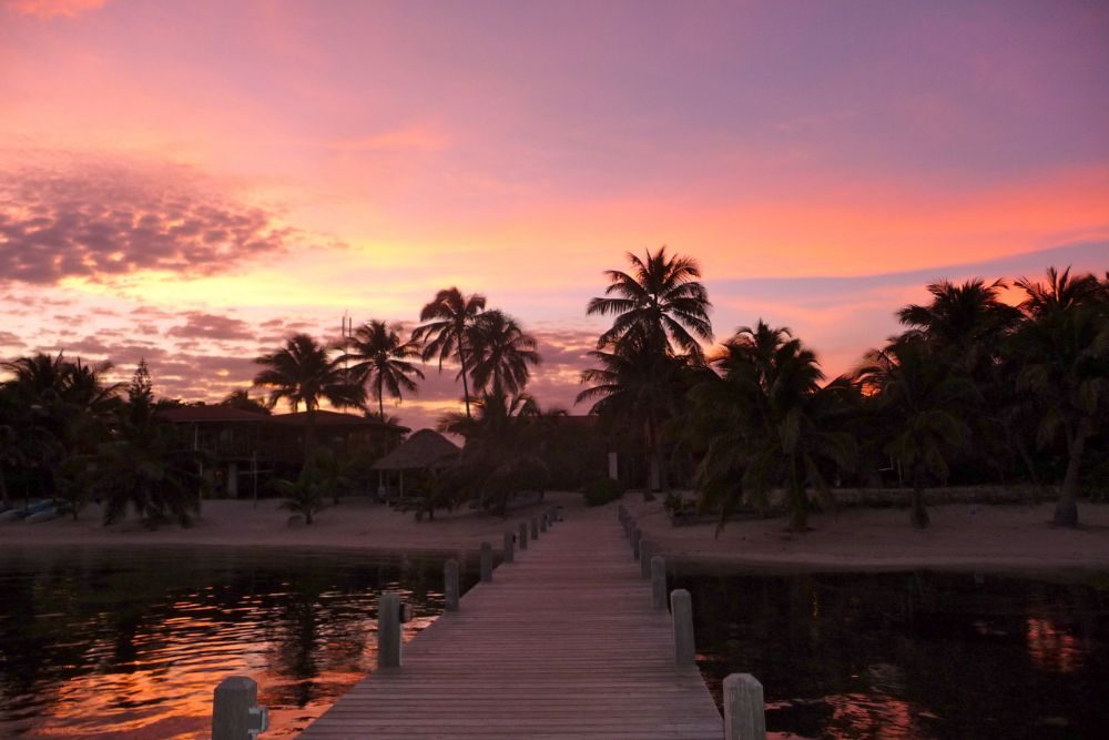 sunset in Belize at Ambergris Caye