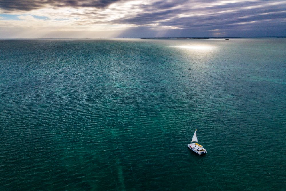 aerial shot of Belize ocean with sailboat