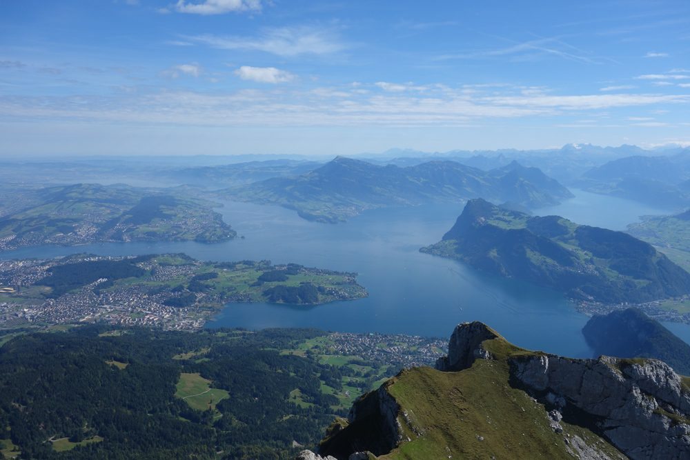 aerial view of Lake Lucerne and surrounding green mountains Switzerland