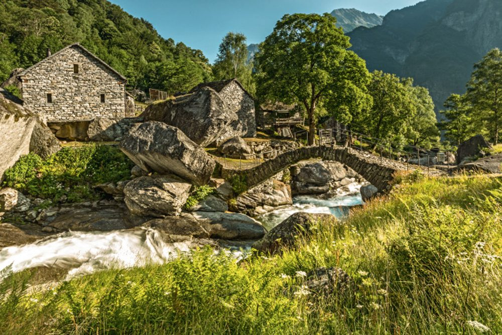 old stone houses in Bavona Valley Switzerland