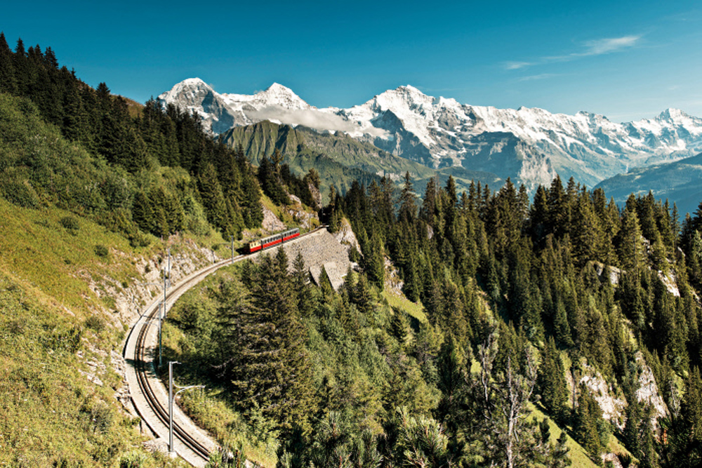 Cogwheel Railway, Mount Schynige Platte above Wilderswil, Bernese Oberland Switzerland with mountains in background
