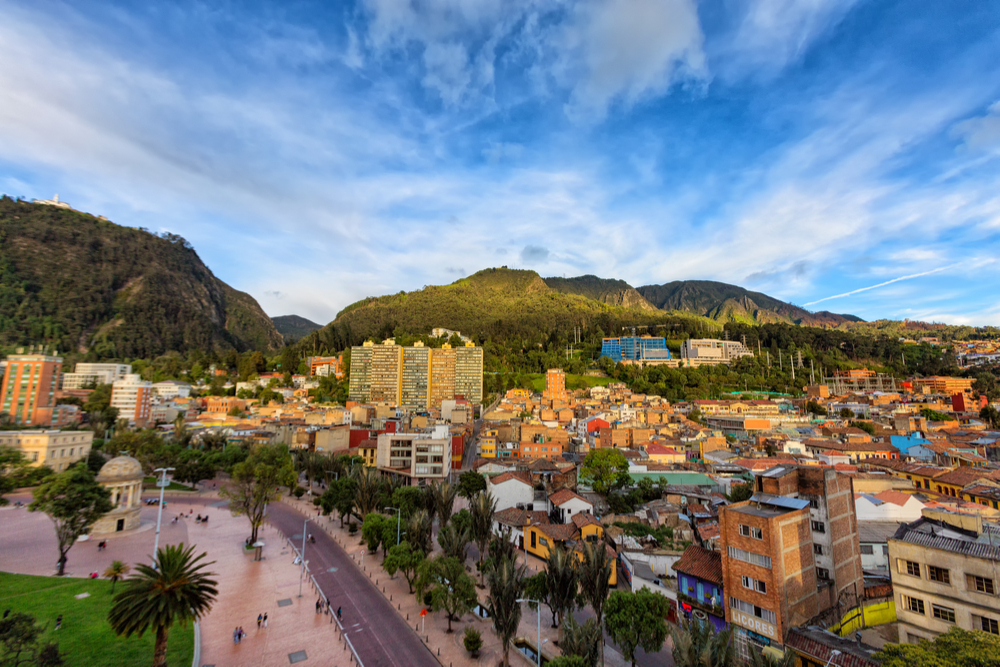 View of Journalist's Park with Monserrate and the Candelaria district of Bogota, Colombia