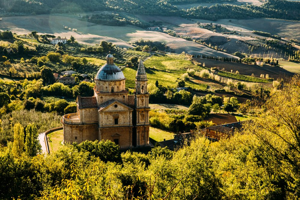 Chiesa di San Biagio standing in a green landscape of Montepulciano Italy Tuscany