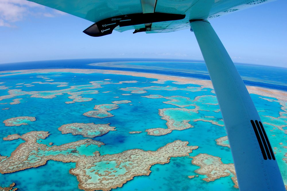aerial view of the Great Barrier Reef from an airplane