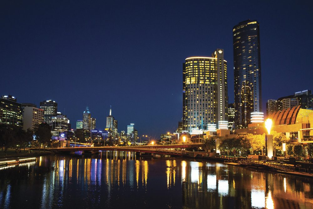 Crown Melbourne and Melbourne skyline at night