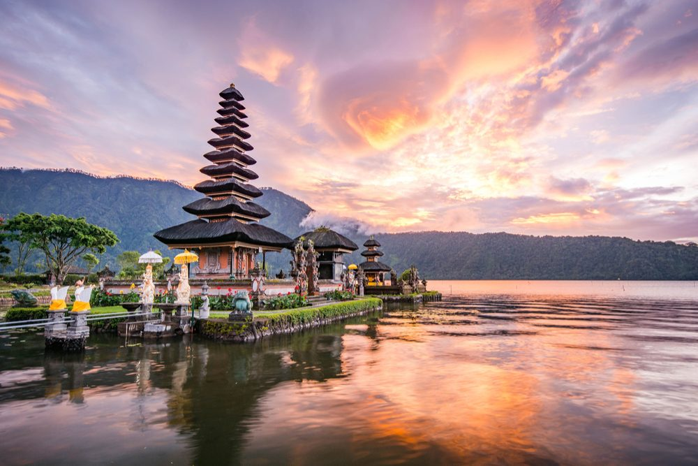 Pura Ulun Danu Bratan, Hindu temple on Bratan lake landscape, one of famous tourist attraction in Bali, Indonesia - Image