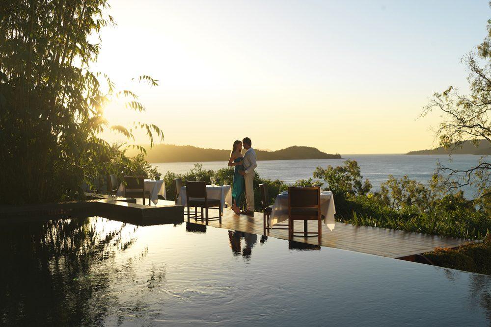 Sunset dining at the Qualia resort at the Great Barrier Reef in Australia