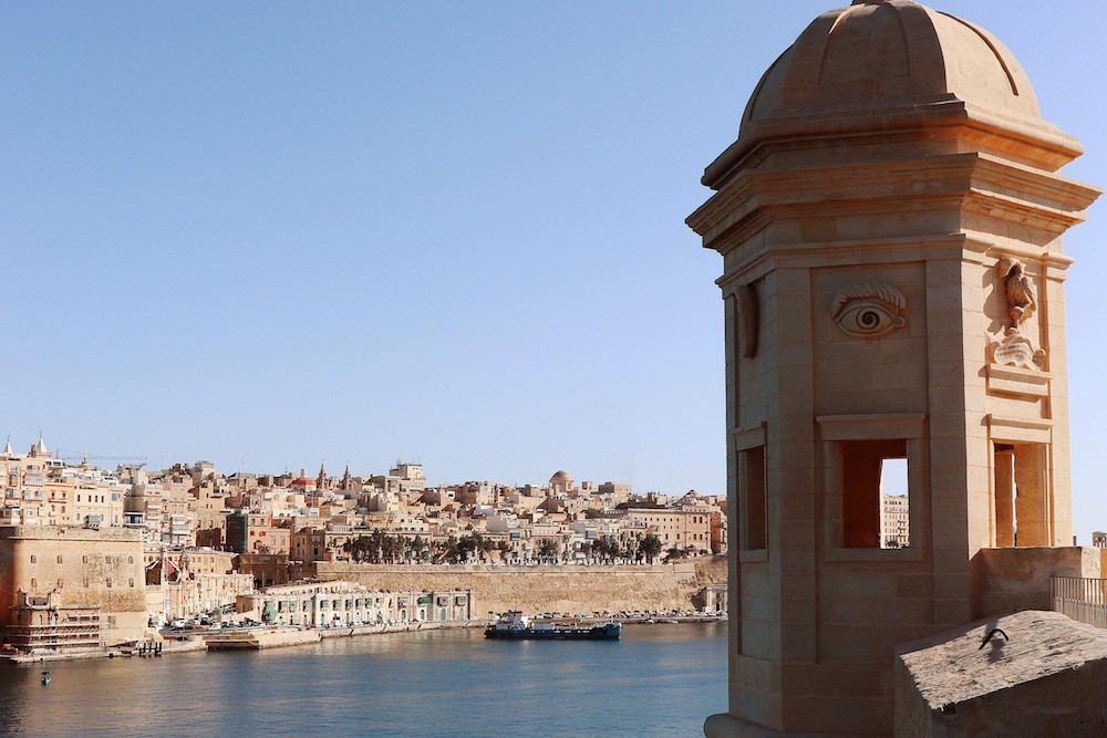 View of Gardjola Tower looking over water and town in Malta