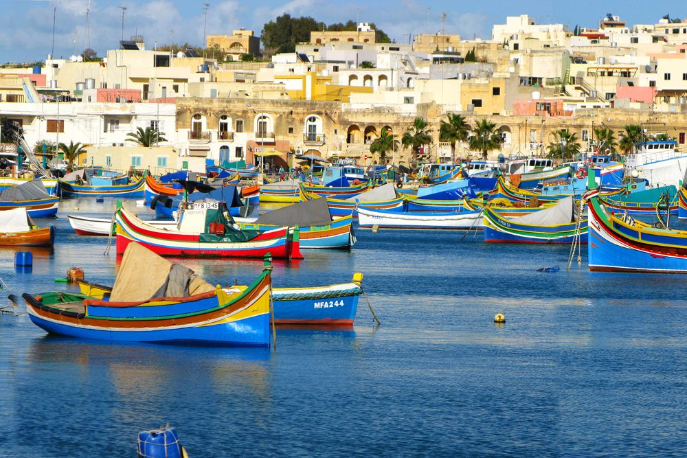 colorful boats in Marsaxlokk Harbour, Malta
