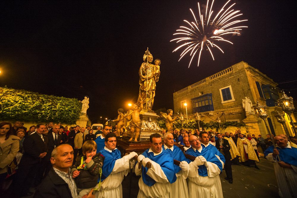 fireworks and a procession for St Josephs Feast in Malta