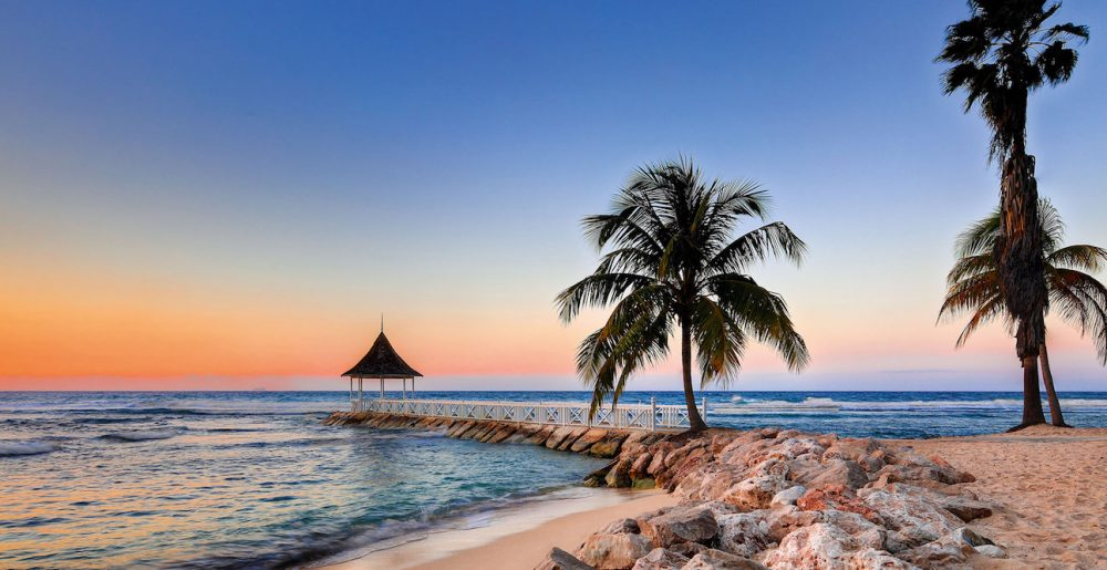 beach with palm tree and rock jetty in Jamaica and sunset