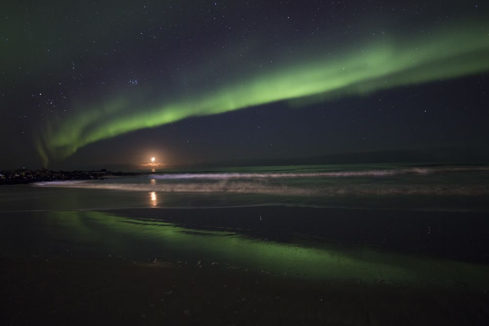 We got to see the northern lights—twice. Our guide took this photo from the first night. Photo: Norwegian-Adventures/Veronika Ostermaier