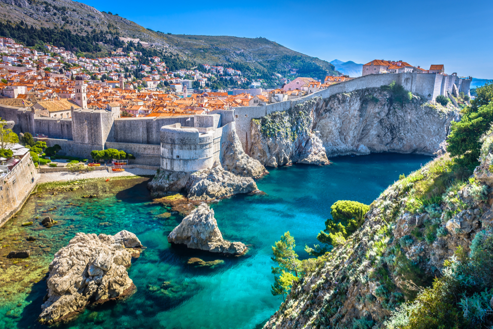 Aerial view at famous european travel destination in Croatia, Dubrovnik old town.