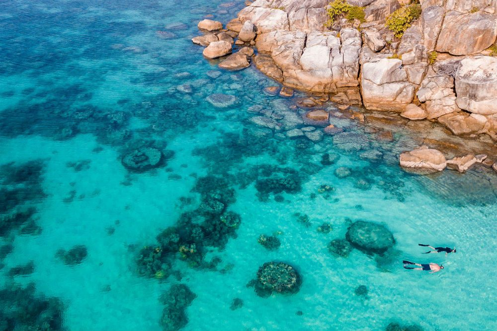 Snorkeling around Lizard Island at the Great Barrier Reef in Queensland, Australia