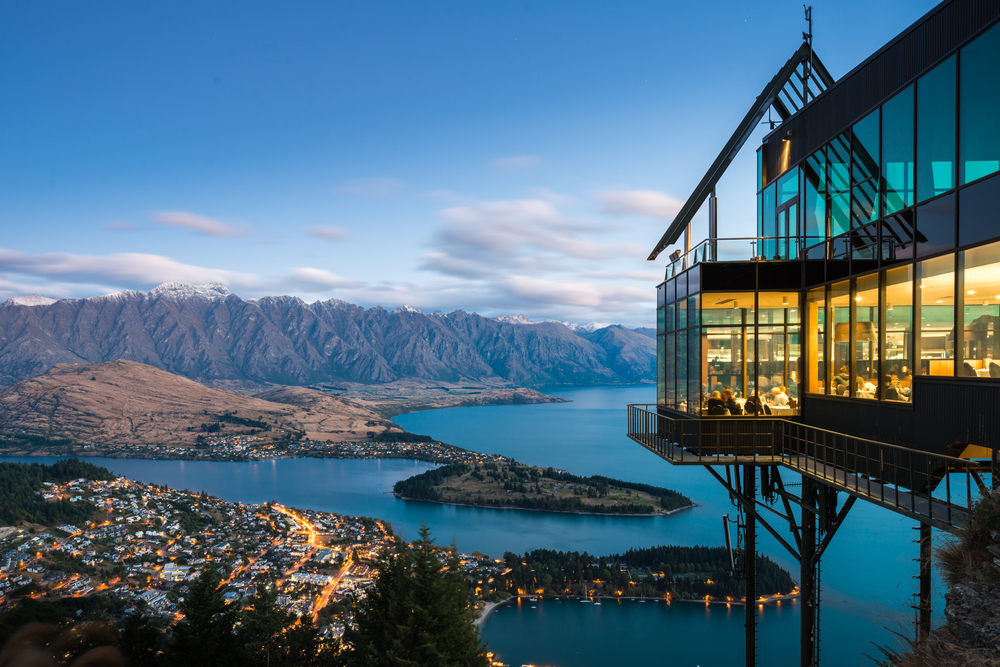 aerial view of Queenstown New Zealand on water