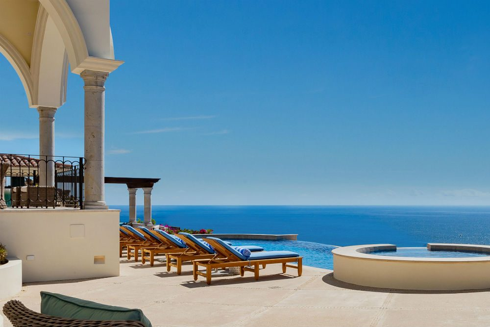 poolside view of the ocean at a private villa in Los Cabos Mexico