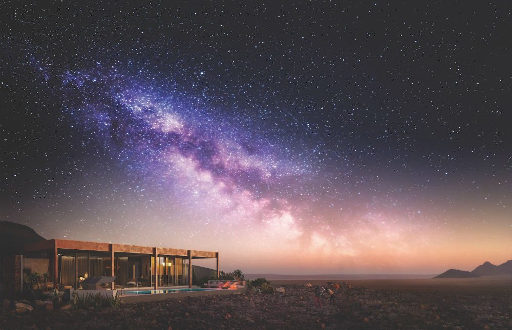 starry sky over andBeyond Sossusvlei Desert Lodge in Namibia Africa