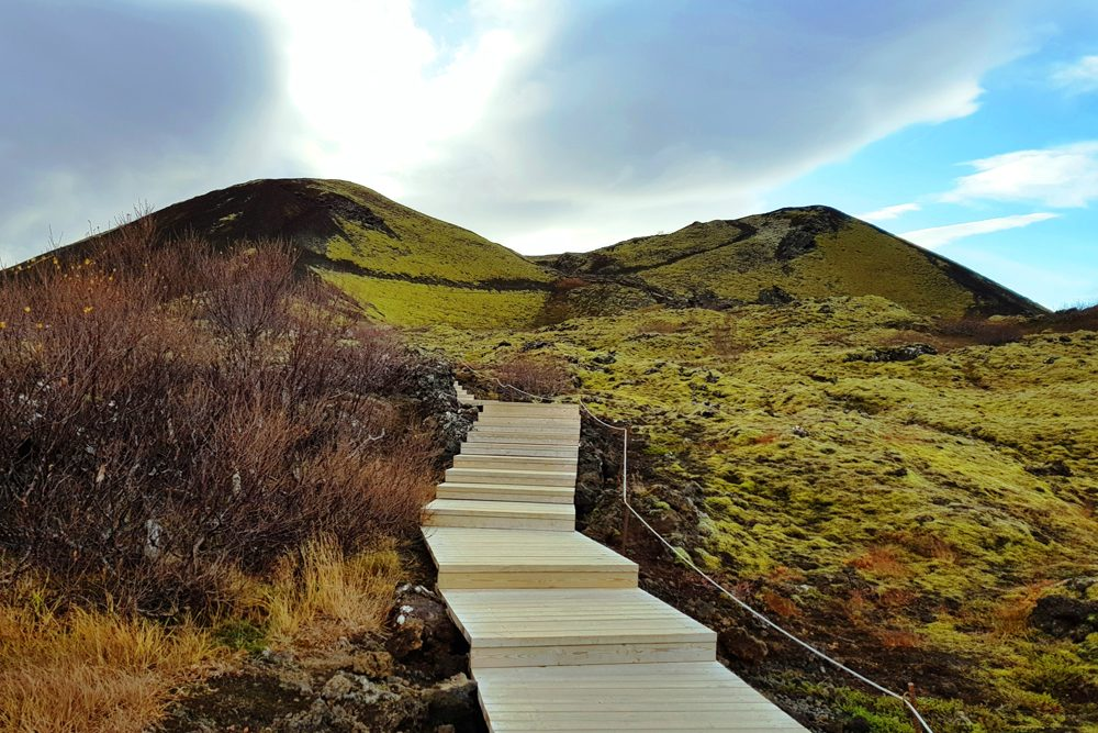Iceland - Grábrók Volcano wooden walking path is place for all ages to stroll.