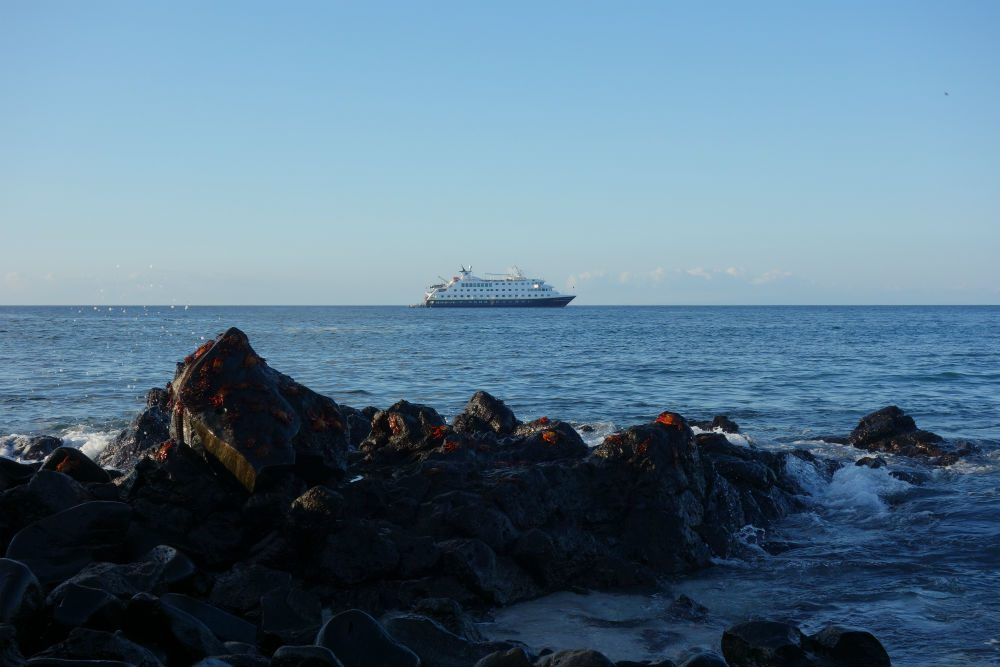 The National Geographic Endeavour II at anchor off Espanola Island in the Galapagos Islands