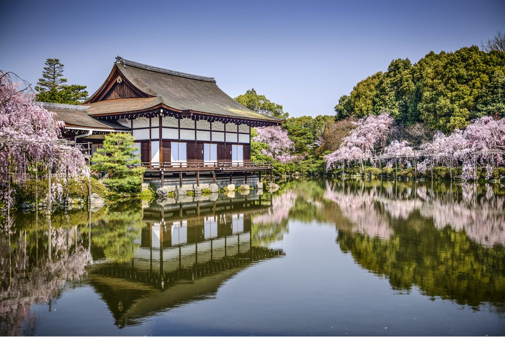 Kyoto, Japan gardens at Heian Shrine in the spring season. - Image