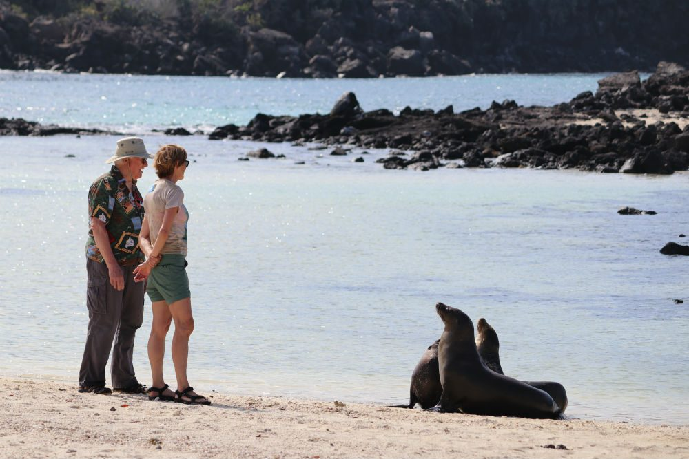 Genovesa Island in the Galapagos Islands - tourists get Up close and personal with sea lions.