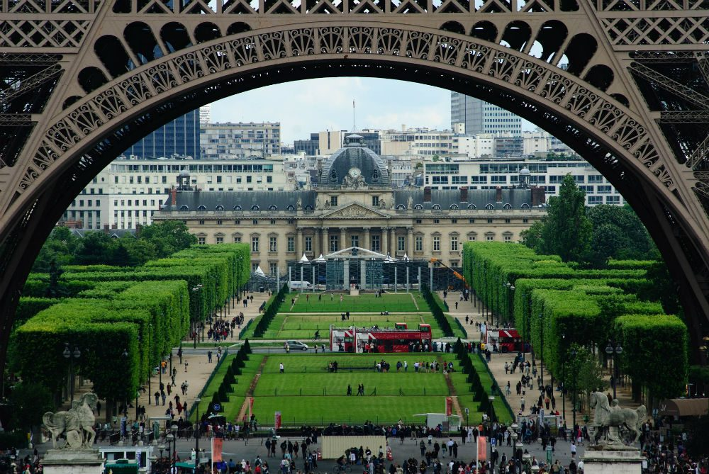 Champ de Mars park and view of bottom of Eiffel Tower Paris