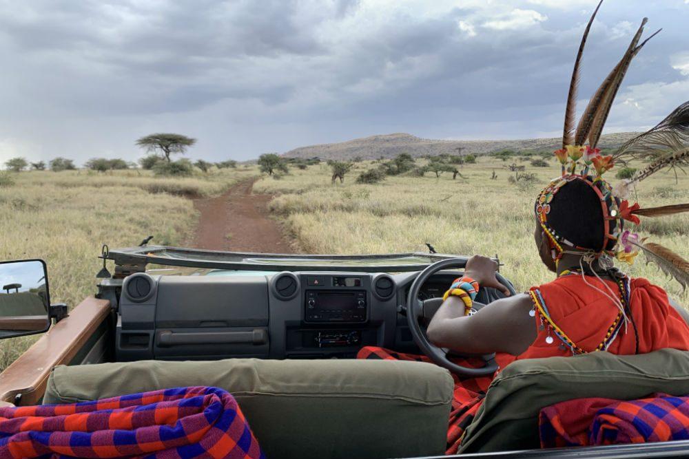 A local Samburu warrior wearing his traditional headdress leads a game drive in Lewa Conservancy, Kenya