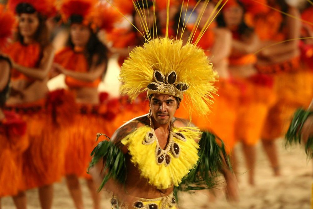 Heiva group dancing contest in Tahiti