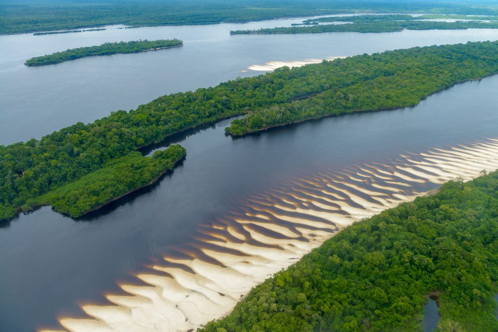 Aerial view of Anavilhanas National Park Islands, Rio Negro, Brazilian Amazon
